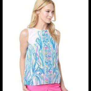 Lilly Pulitzer Iona Shell Silk Top Long Story Med